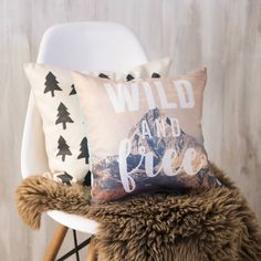 Wild And Free Cushion. This contemporary cushion is the perfect addition to any traditional or contemporary home. A perfect gift for the adventurer in your life, or simply something just as fun for your own home.