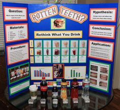 "Science Fair Project - ""Rotten Teeth? Rethink What You Drink"" We used real human teeth, and got some real amazing results. Check it out!"
