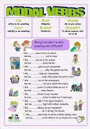 English worksheet: Modal verbs(can/can´t,must/mustn´t,should/shouldn´t)