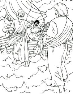 Peter Walks on the Water Coloring page biblie copii Pinterest