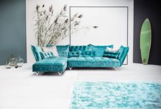 OHLINDA Lounge by BRETZ in blue velvet: the ultimate cosy designer sofa. Made in Germany. Available in Sydney flagship BRETZ furniture store.                                                                                                                                                                                 More