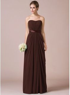 Sheath/Column Sweetheart Floor-Length Chiffon Charmeuse Bridesmaid Dress With Ruffle Sash (007057742) - JJsHouse