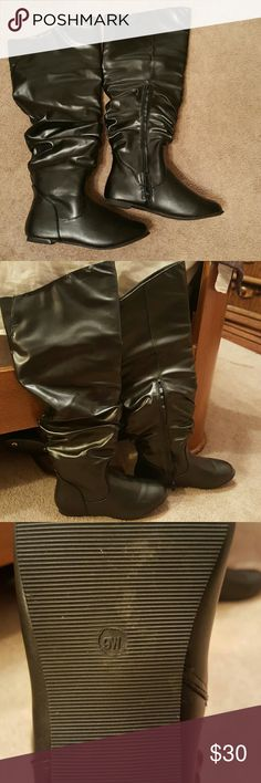Black Beauty Barely worn (1x) boots. Scrunch effect and shiny look goes great with almost anytjing and perfect for the winter. Boot says 9w but in the foot part fit smaller to me probably could be stretched out if worn more. But they are a wide in the shaft measured 9 (flat measurement) across tue top. Beautiful ?? Ashley Stewart Shoes Over the Knee Boots