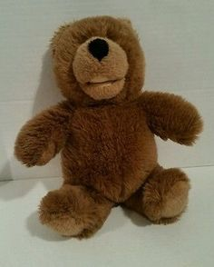 Gund Collectors Classic plush brown tan seated teddy bear 1988 black nose