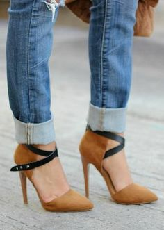 two tone strappy heels