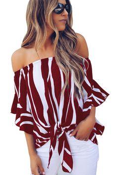 Off The Shoulder Vertical Stripes Blouse in Burgundy. Bell Sleeve ... 9eeb3998d