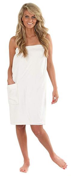 6a1aac60ddf VEAMI Women s Spa Wrap Towel with Snap Closure -Mirage White-X-Small Small