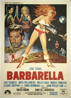 Barbarella is a 1968 Franco-Italian science fiction film based on Jean-Claude Forest's French Barbarella comics. The film was directed by Roger Vadim and stars Jane Fonda, who was Vadim's wife at the time. Film Science Fiction, Fiction Movies, Comedy Movies, 60s Films, 1960s Movies, Barbarella Movie, Jane Fonda Barbarella, Old Movies, Vintage Movies