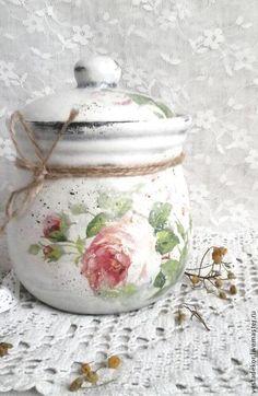 Кухня ручной работы. Ярмарка Мастеров - ручная работа. Купить Большой горшочек Розы винтажные в стиле шебби шик. Handmade.