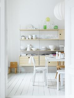 String Shelving in white Kitchen: Remodelista