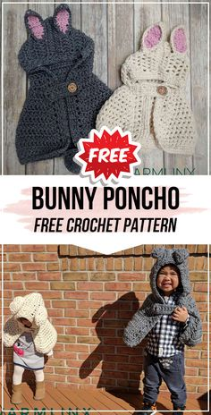 crochet Bunny Poncho free pattern crochet Bunny Poncho free pattern - easy crochet poncho pattern for beginners Crochet Baby Poncho, Crochet Bunny Pattern, Crochet Bear, Easy Crochet Patterns, Free Crochet, Crochet Mask, Bear Patterns, Crochet Sweaters, Poncho Knitting Patterns