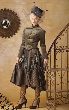 Miss Giselle goes Gothic ~ Victorian Steampunk 2-piece ensemble in satin and…