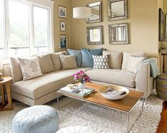 #diy Contemporary Living Room Small Living Room Design. like colors, sectional, rug....
