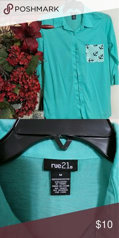 Adorable Top! Nice turquoise button-down blouse, The 21, size M, 3 quarter sleeves. Like new! Perfect condition! Rue 21 Tops Button Down Shirts