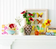 Colorful summer mantel.