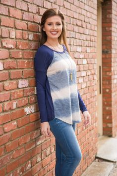 """In Hot Water Top, Navy"" 