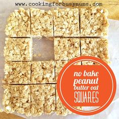 These no bake peanut butter oat squares have only three ingredients, you've probably guessed them already - peanut butter, rolled oats and honey. Lunch Box Recipes, Baby Food Recipes, Baking Recipes, Sweet Recipes, Snack Recipes, Lunch Ideas, Overnight Chia Seed Pudding, Oat Slice, Sour Cream Banana Bread