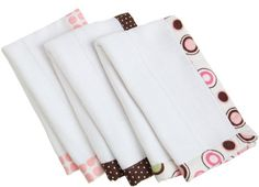 Carters Keep Me Dry Burp Pads, Pink Circles, 3 Pack