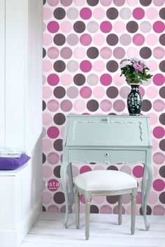 This wallpaper with large dots in lilac purple is perfect for creating a beautiful feature wall and adds a cheerful, lively atmosphere to the room.The wallpaper print is printed on a high-quality and environmentally friendly, FSC® certified n Lilac, Purple, Bedroom Decor, Dots, Wallpaper, Table, Prints, Collections, Furniture