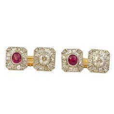 Belle Epoque Ruby & Diamond Set Cufflinks - $13,146