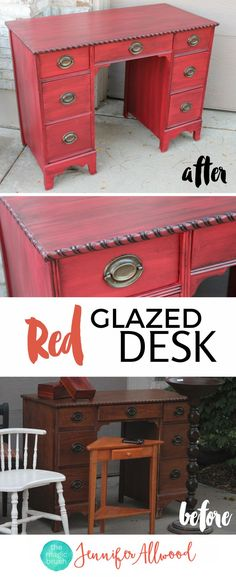 Red Glazed Desk Transformation with my favorite RED Paint! is part of painting Furniture Desk - This is a gorgeous red glazed desk using my favorite red paint Sherwin Williams Red Bay The Black Glaze adds much dimension and interest Furniture Projects, Furniture Making, Diy Furniture, Homemade Furniture, Furniture Movers, Furniture Vintage, How To Paint Furniture, Office Furniture, Glazing Furniture