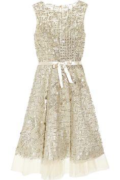 Oscar De La Renta Embellished Tulle Dress in Silver (champagne) | Lyst