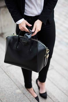 Accessorize with a classic bag. Currently loving the Givenchy Antigona bag.