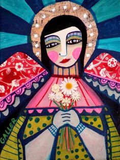 50% Off Today - Mexican Folk Art - ANGEL ART Primitive Folk Art poster print of painting