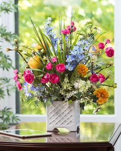 Larkspur, Ranunculus & Rose<br>Silk Flower Arrangement