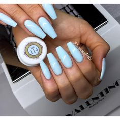 Baby blue coffin nails summer nails
