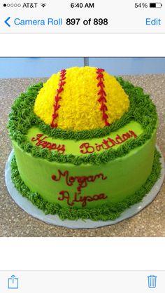 Softball cake... wow Baseball Theme Cakes, Softball Cupcakes, Softball Treats, Softball Birthday Parties, Softball Party, Softball Stuff, Cake Cookies, Cupcake Cakes, Green Cake
