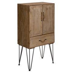 Mueble Auxiliar en Madera de Abeto Natural con Patas de Hierro 38 x 65 x 121 cm