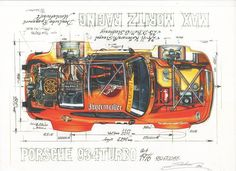 Another incredible cut-away illustration by Sebastien Sauvadet of a 934 Turbo - Automotive Paintings / Posters / Artworks - Vehículos Technical Illustration, Car Illustration, Technical Drawings, Classic Race Cars, Automobile, Poster S, Car Drawings, Automotive Art, Peugeot 205