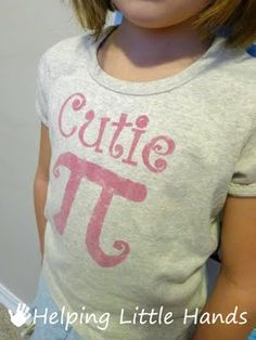 This shirt is adorable for March 14! Click to find more great Pi Day activities for you and your children.