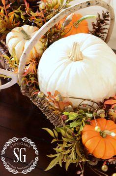 Pumpkins in a basket...FALL HOME TOUR-stonegableblog.com