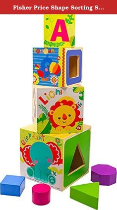 """Fisher Price Shape Sorting Stacking & Nesting Blocks. These Wooden Stacking Cubes pack away inside each other and contain vibrantly coloured shapes for dropping through the sorter. The cubes have different sides for a good start in learning: letters, numbers, colors and shapes. A classic educational toy for toddlers. Made of wood. Ages 12 months +. Measures 6.5"""" x 5.5"""" x 4.25""""."""