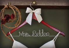 Wedding Dress Hanger, Personalized Bridal Hanger, Custom Wire Name Hanger, Bridal Gift by whiskeynweddingbells on Etsy https://www.etsy.com/listing/107320955/wedding-dress-hanger-personalized-bridal