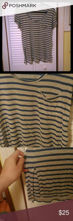 Madewell striped tee Soft grey and blur striped tee, 100% viscose, small slits up the sides, comfy and cute for everyday wear Madewell Tops Tees - Short Sleeve