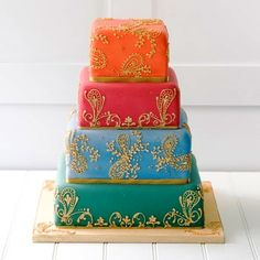 via Wedding Cakes in Dubai Indian Wedding Cakes, Amazing Wedding Cakes, Wedding Henna, Amazing Cakes, Indian Cake, Indian Theme, Pretty Cakes, Beautiful Cakes, Mehndi Cake