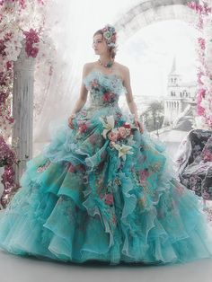 Fantasy blue and pink dress