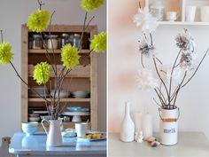pompoms Blumen aus Servietten