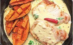 VEPŘOVÁ KOTLETA S OMÁČKOU, BATÁTY - LC Camembert Cheese, Dairy, Low Carb, Food, Diet, Essen, Meals, Yemek, Eten