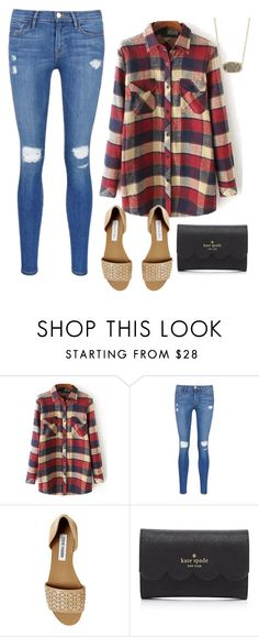 """""""Flannel fantasy"""" by sadiepatton ❤ liked on Polyvore featuring moda, Frame Denim, Steve Madden, Kate Spade y Kendra Scott"""