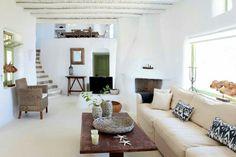 Mykonos Interior - corner fireplace