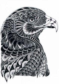 Eagle Zentangle by LilysTangles on DeviantArt Zentangle Drawings, Doodles Zentangles, Mandala Drawing, Zentangle Patterns, Mandala Art, Art Drawings, Zentangle Animal, Arte Sharpie, Art Zen
