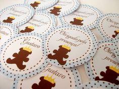 """Tags tema """"Urso Príncipe"""" marrom e azul"""