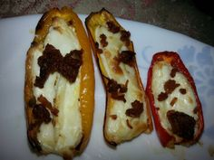 Bacon & Cream Cheese stuffed Sweet Peppers! Low Carb! Bag of sweet peppers in produce section of Walmart. They are about jalapeno size but not spicy at all, just sweet. Fill with a bit of cream cheese & sprinkle w real bacon crumbles (I like to fry up a lb of bacon, then stick it in the food processor, & freeze in a ziploc, so they are ready when I am). Bake in toaster oven at 400 degrees for about 20 min. Then u can dip in a smidge of buttermilk ranch(I like Walmart's Great Value brand) or noth Toaster Oven Cooking, Pepper Poppers, Buttermilk Ranch, Small Meals, Stuffed Sweet Peppers, Lunch Snacks, Appetizer Dips, Recipe Box, Low Carb Recipes