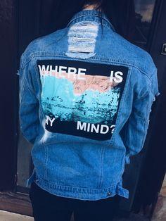 "Custom Denim Jacket - Painted Distressed ""Where is my mind?"""