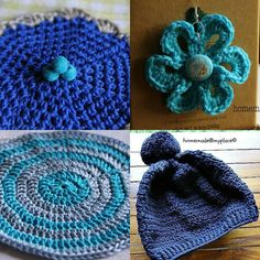 "Today @lazydaisyjones and @crochetnowmag : BEAUTIFUL BLUE ... PART 3 : from top left clockwise (all on my blog link in profile) : water glass cover (""Ok!! Done!!!"" 9/04/2013) earrings with flowers (""Flowery earrings!!!"" 25/11/2012) slouchy hat (""Two more things done!!! 11/12/2013) and a stripey coaster!!!  #crochet #ldjcrochethookup #crochetnowmag #blue #crochetgirlgang #crochetconcupiscence #uncinetto #haken #ganchillo #virka #crochetoninstagram #instacrochet #crochetlove #crochetaddict…"