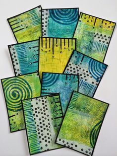 ellen vargo ... ten thirty-six art: ATC Collection with Dina Wakley MEDIA paints!